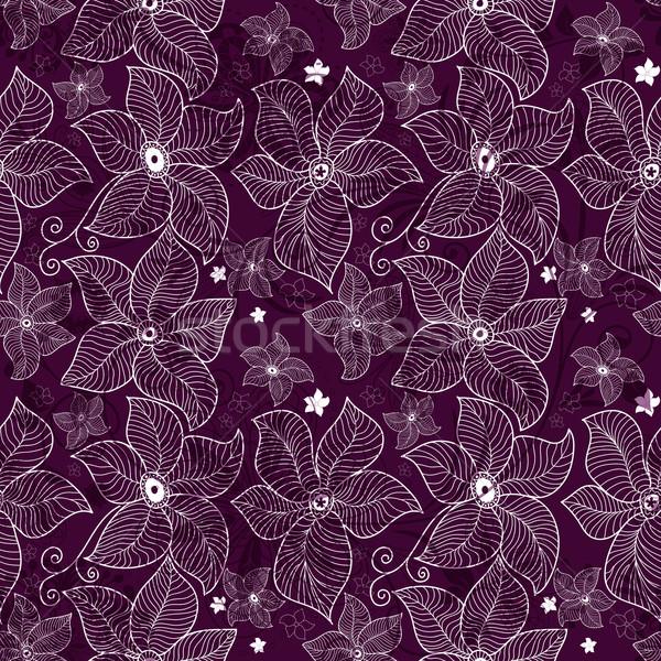 Seamless violet lace pattern Stock photo © OlgaDrozd
