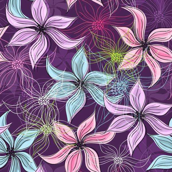 Ismétlés ibolya virágmintás minta élénk átlátszó Stock fotó © OlgaDrozd