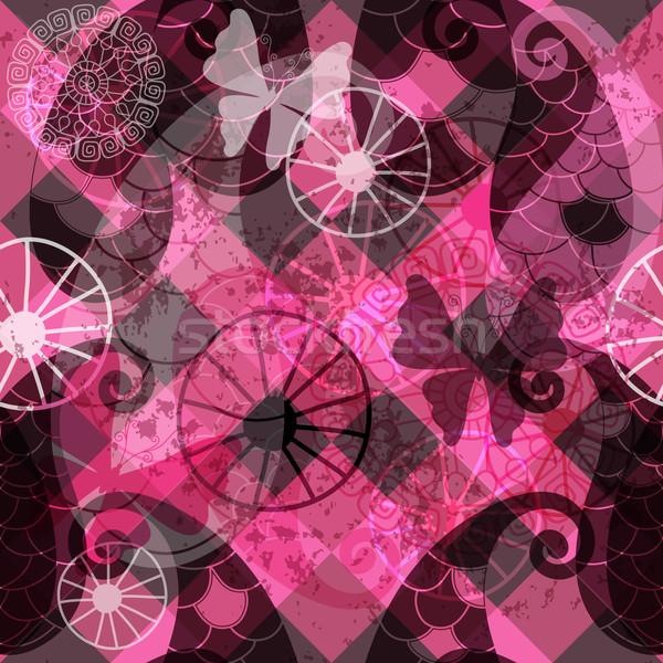 Foto stock: Sem · costura · escuro · roxo · padrão · borboletas