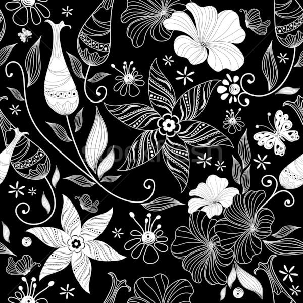 Black effortless floral pattern Stock photo © OlgaDrozd