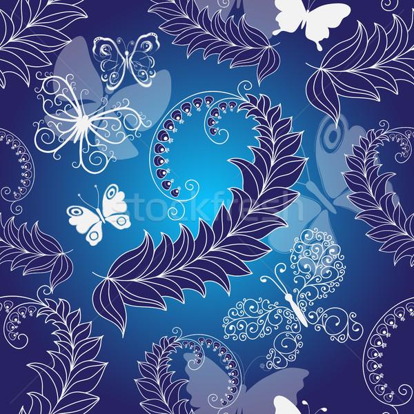 Floral sombre bleu printemps modèle Photo stock © OlgaDrozd
