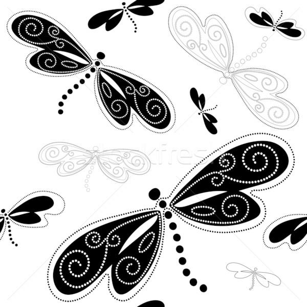 Modèle blanche noir vintage fleur Photo stock © OlgaDrozd