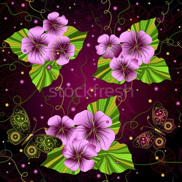 Floral sombre modèle rose fleurs Photo stock © OlgaDrozd