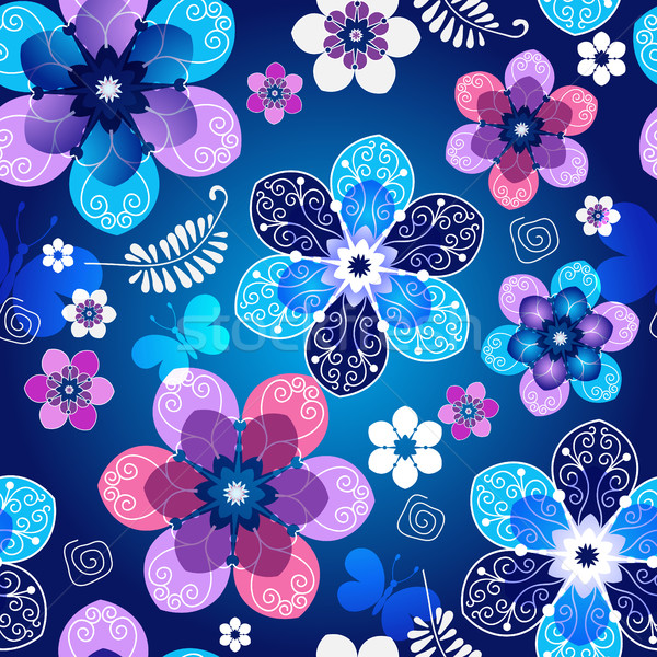 Floral escuro azul sem costura primavera padrão Foto stock © OlgaDrozd