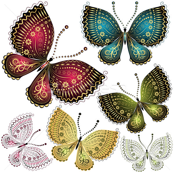 Set fantasy vintage butterfly Stock photo © OlgaDrozd