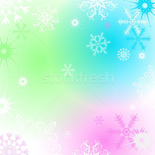 Coloré Noël cadre flocons de neige vecteur Photo stock © OlgaDrozd