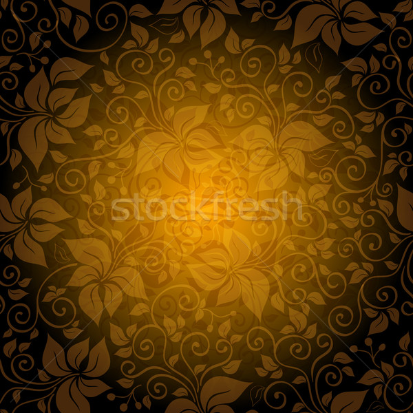 Seamless gold pattern with translucent flowers Stock photo © OlgaDrozd