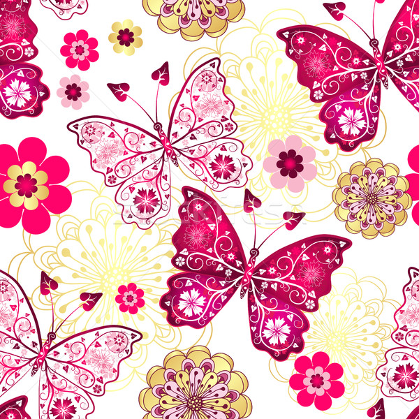 Vintage papillons fleurs vecteur fleur Photo stock © OlgaDrozd