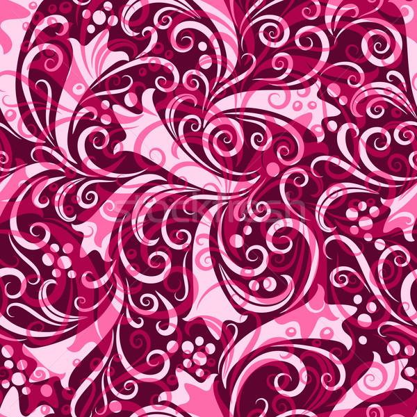 Foto stock: Púrpura · sin · costura · floral · patrón · vector · eps