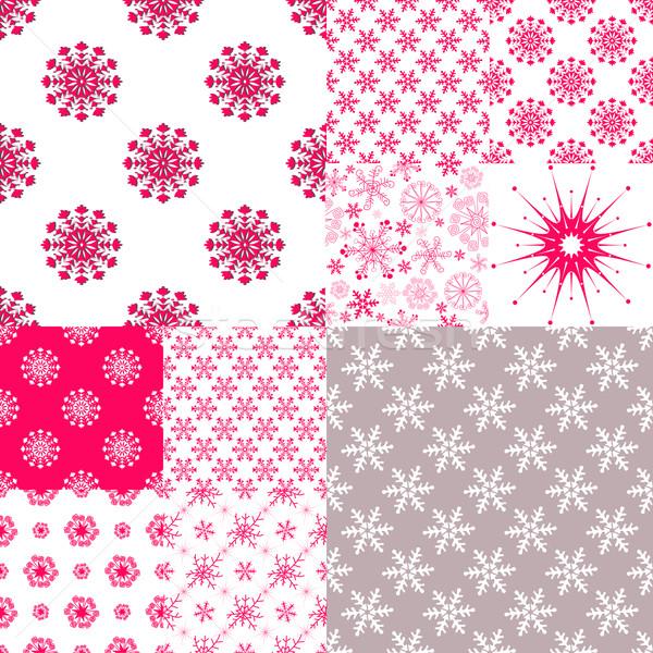 10 végtelen minta hópelyhek nagy szett vektor Stock fotó © OlgaDrozd