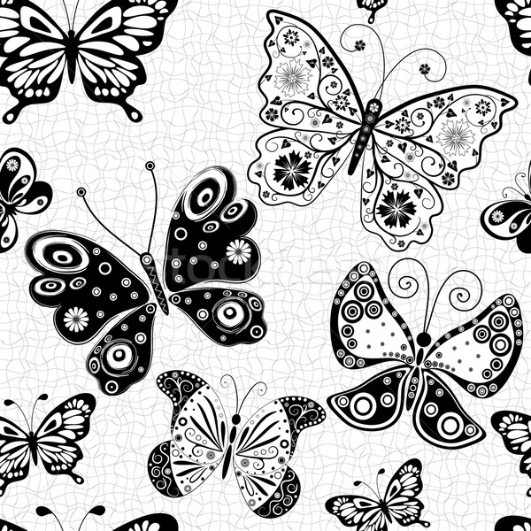 Seamless pattern with silhouettes butterflies Stock photo © OlgaDrozd