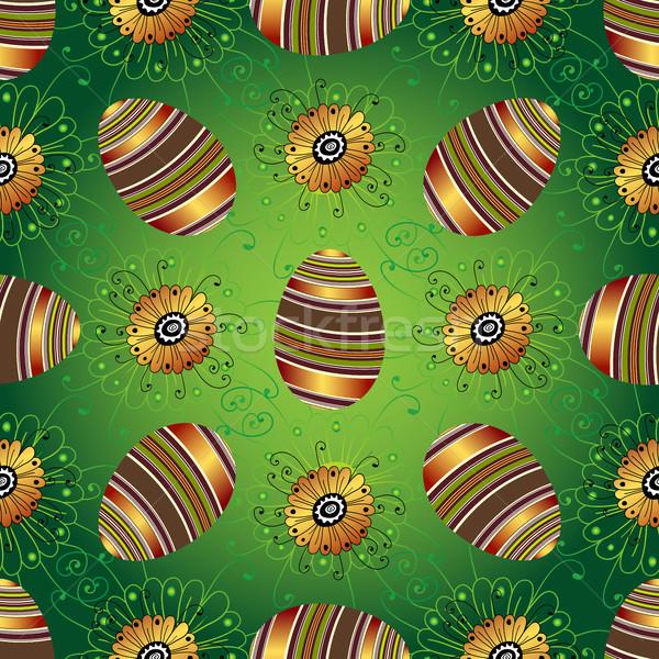 Pâques vert modèle oeufs peint Photo stock © OlgaDrozd