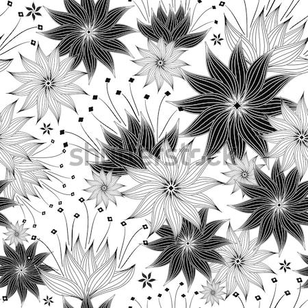Repeating white-black floral pattern Stock photo © OlgaDrozd