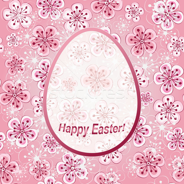 Gentle pink floral greeting frame Happy Easter Stock photo © OlgaDrozd