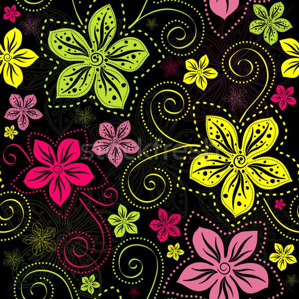 Sem costura preto floral padrão escuro Foto stock © OlgaDrozd