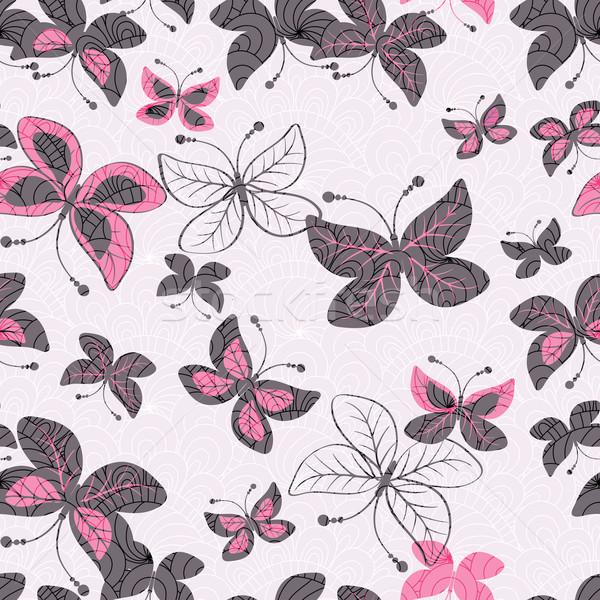 Rose papillons vecteur eps Photo stock © OlgaDrozd
