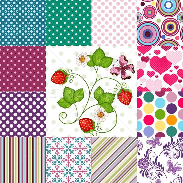 Foto stock: Colección · sin · costura · colorido · patrones · tiras