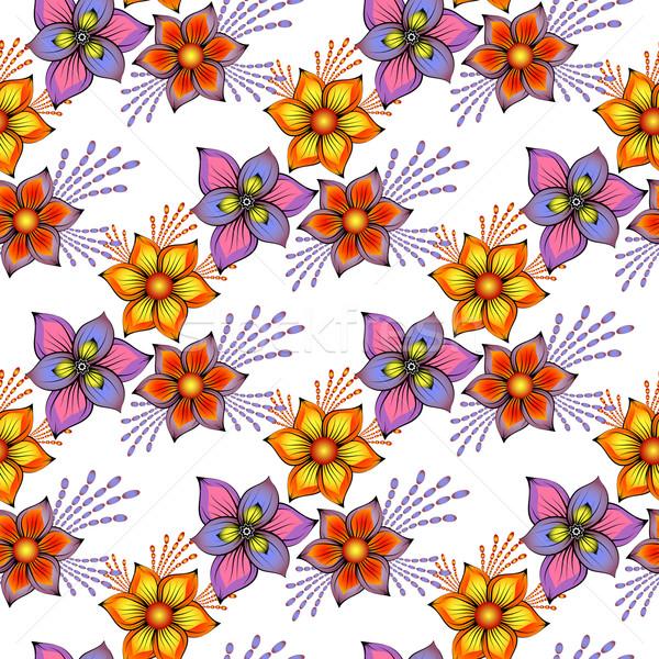 Floral sem costura primavera padrão vintage colorido Foto stock © OlgaDrozd