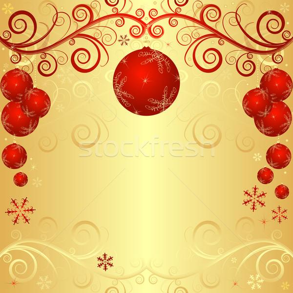 Or Noël cadre rouge heureux Photo stock © OlgaDrozd