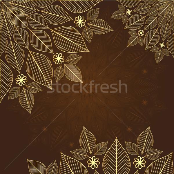 Bağbozumu çerçeve kahverengi altın çiçekler vektör Stok fotoğraf © OlgaDrozd