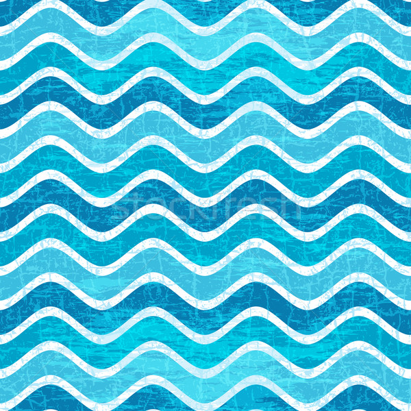 Seamless blue wave striped pattern Stock photo © OlgaDrozd