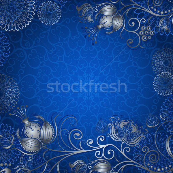 Blue-silvery vintage frame  Stock photo © OlgaDrozd