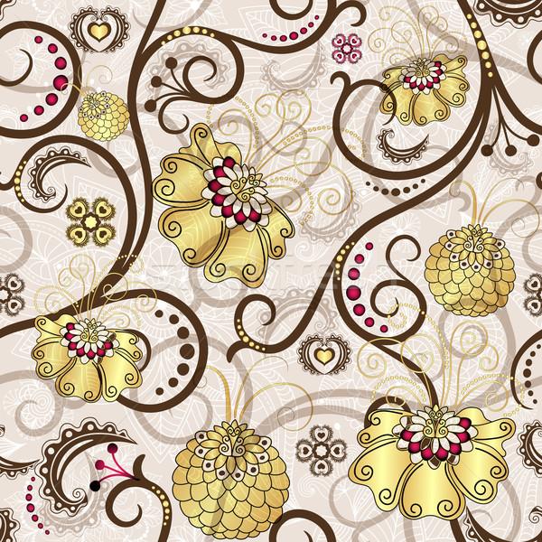 Foto stock: Pascua · oro · flores · marrón · vector