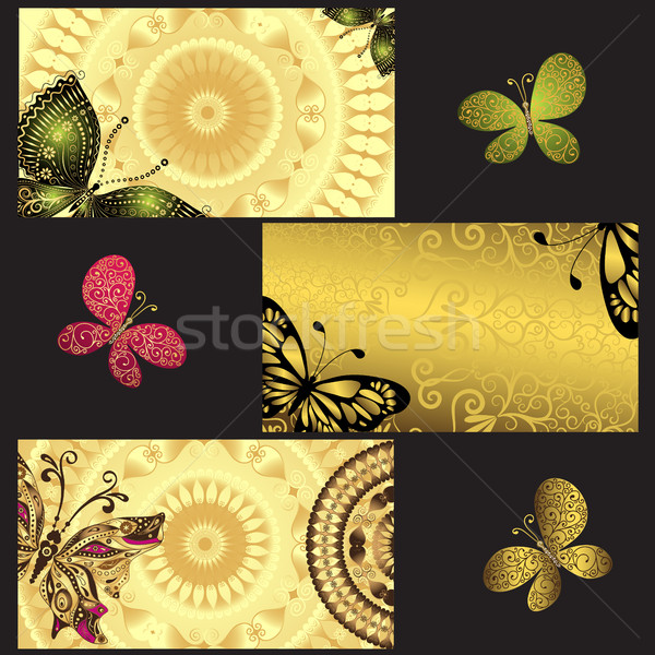 Set of golden business cards  Stock photo © OlgaDrozd