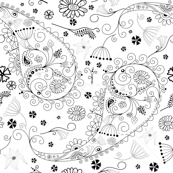 White and black seamless floral pattern Stock photo © OlgaDrozd