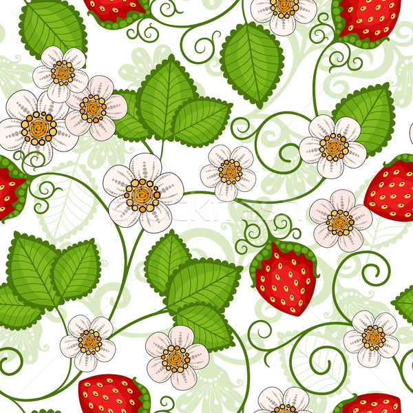 Sem costura primavera padrão morangos flores vetor Foto stock © OlgaDrozd