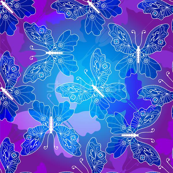 Végtelenített ibolya minta klasszikus pillangók sötét Stock fotó © OlgaDrozd