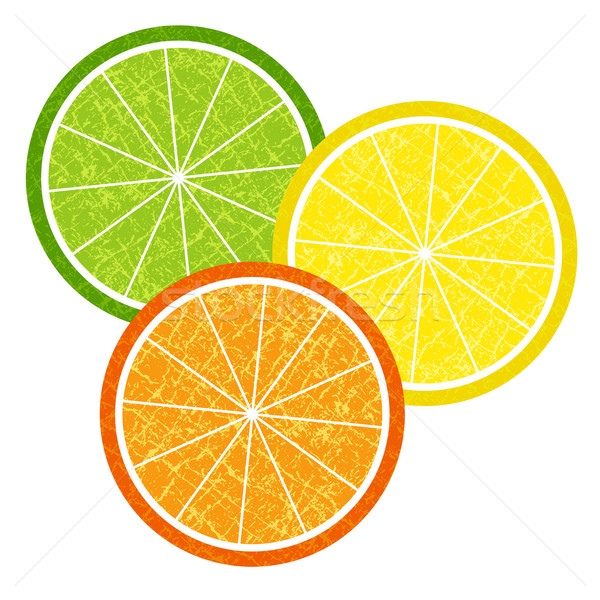 Colorful citrus slices set Stock photo © OlgaDrozd