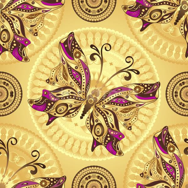 Sem costura ouro padrão vintage borboletas círculos Foto stock © OlgaDrozd