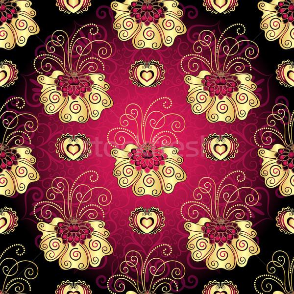 Vintage escuro roxo ouro flores Foto stock © OlgaDrozd