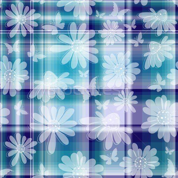 Repeating floral checkered pattern  Stock photo © OlgaDrozd
