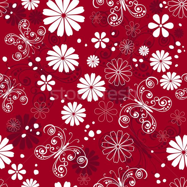 Floral modèle rouge pourpre blanche Photo stock © OlgaDrozd