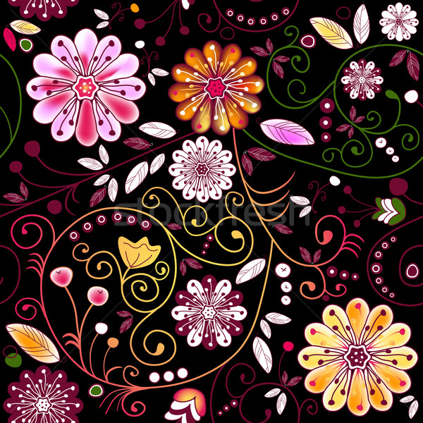 Seamless dark floral pattern Stock photo © OlgaDrozd