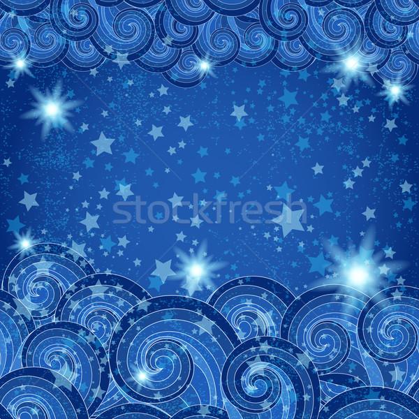 Sötét kék keret csillagos áttetsző víz Stock fotó © OlgaDrozd