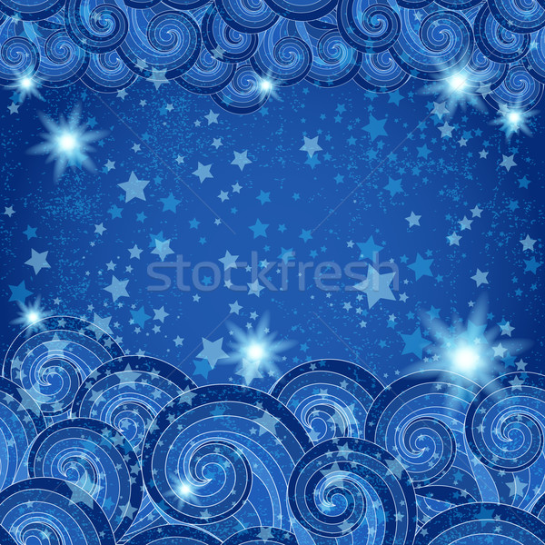 Dark blue frame with starry skies Stock photo © OlgaDrozd