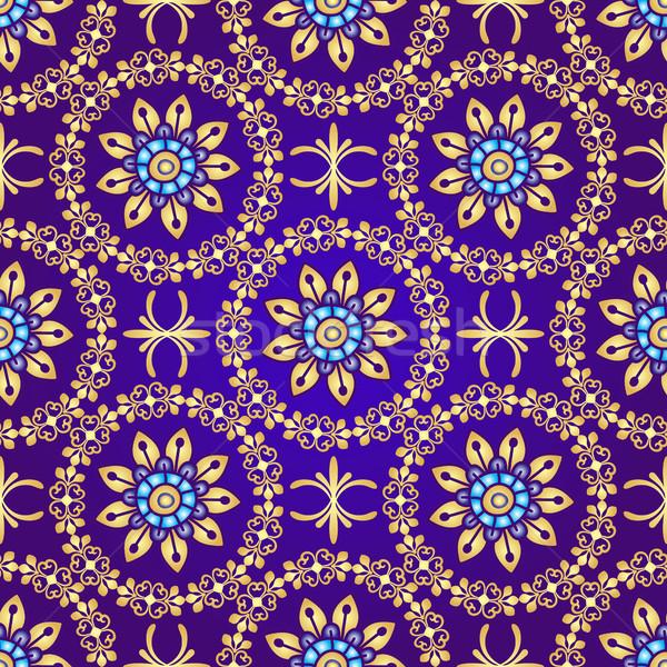 Stock fotó: Virágmintás · ibolya · végtelen · minta · klasszikus · virágok · arany