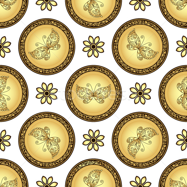 Gold and browne seamless pattern with gradient vintage circles Stock photo © OlgaDrozd