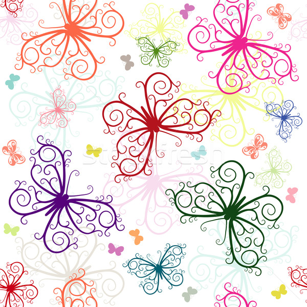 Repeating white pattern with butterflies  Stock photo © OlgaDrozd