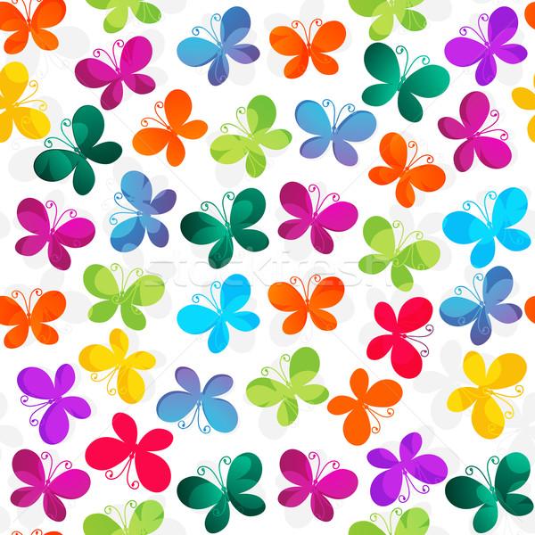 Sem costura branco padrão borboletas primavera Foto stock © OlgaDrozd