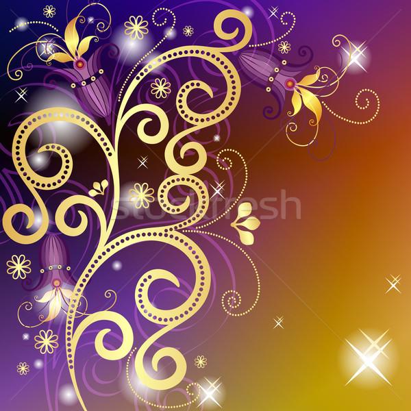 Stock fotó: Arany · ibolya · virágmintás · keret · klasszikus · áttetsző