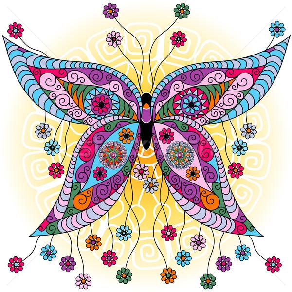 Fantasy printemps vintage papillon coloré fleurs Photo stock © OlgaDrozd