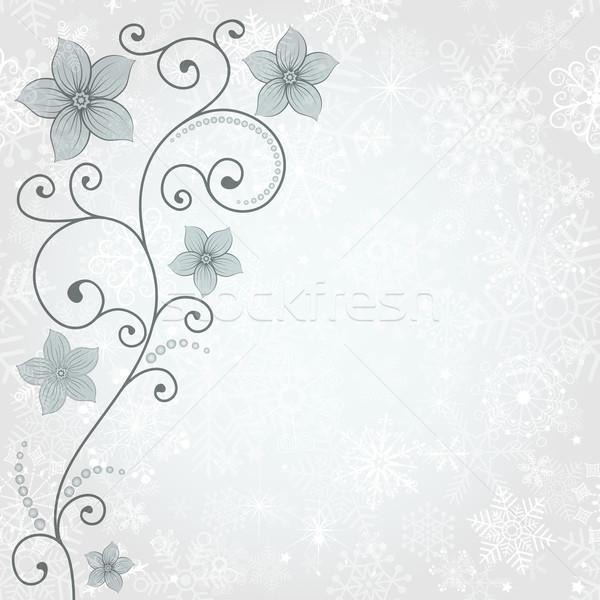 Photo stock: Hiver · carte · flocons · de · neige · floral · modèle