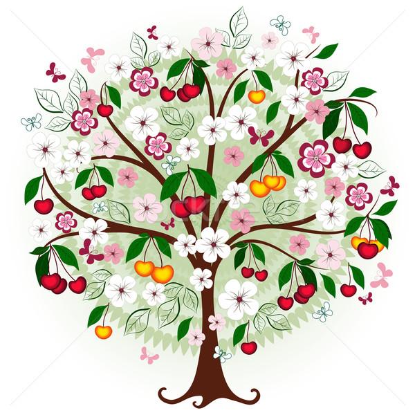 Stock fotó: Dekoratív · cseresznye · fa · virágok · bogyók · pillangók