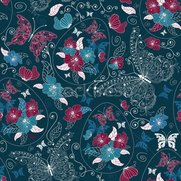 Naadloos ester donkere Blauw patroon Stockfoto © OlgaDrozd
