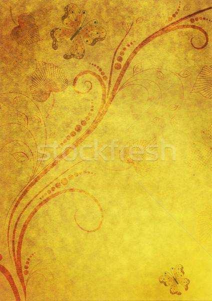 Jaune papier floral cadre vieux sombre Photo stock © OlgaDrozd