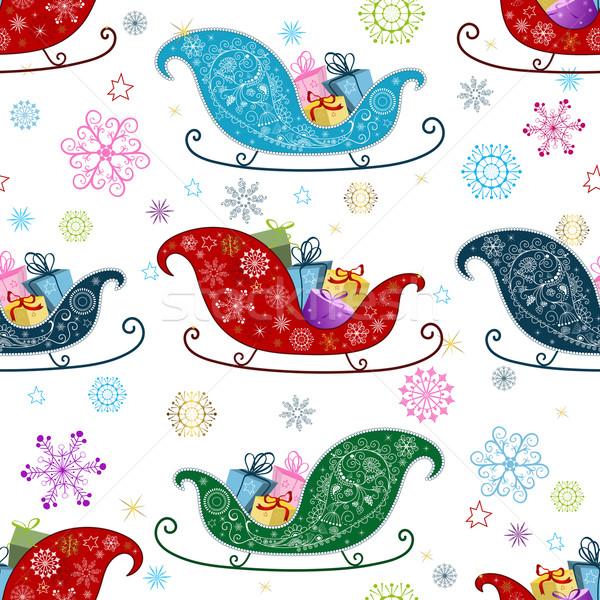 Motif de noël coloré flocons de neige neige fond Photo stock © OlgaDrozd